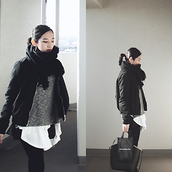 Yuko Tanaka - Stradivarius Ma 1, Zara Top, Sly Top, H&M Shorts, Zara Bag, Scarf - Color me black