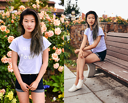 Angelina - Brandy Melville Usa Girl Power Crop Top, American Eagle Outfitters Sky High Denim Shorts, Vans Classic White Slip On - Girl power