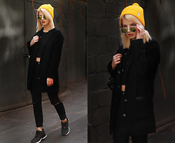 Vlada Kozachyshche - Pull & Bear Hat, Topshop Coat, Zara Sweater, Pull & Bear Jeans, Adidas Sneakers - Black & Yellow