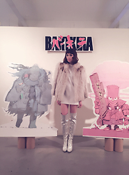 Zoë Harvey - Vintage Fur Coat, Forever 21 White Shift Dress, Amazon Silver Thigh High Boots - Bartkira
