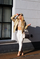 Lilia - Misspap Bomber Jacket, Paul's Boutique London Ltd. Bag, Zara Nude Jeans, Public Desire Lace Up Shoes, Ebay Leather Snapback, Misspap Nude Top - NUDES
