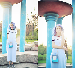 Evelyn Moon - Zara Denim Dress, Vans Skate Shoes, Pull & Bear T Shirt, Skinny Dip Mermaid Tears Clutch - Mermaids Do It Better