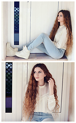Nogynyan - Stradivarius Blouse, H&M Jeans, Primadonna Shoes - Love White