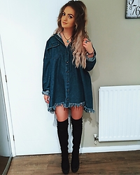 Amy Hallimond - Nasty Gal Denim Shirt Dress, River Island Boots, Ebay Necklace, Bohomoon Rings - Denim feels