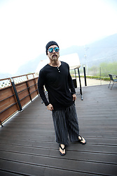 INWON LEE - Byther Boeing Blue Mirror Lense Sunglasses, Byther Black Button Neckline Long Sleeve T Shirt, Byther Pinstripe Wide Baggy Pants - Daily Life Posture