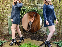 Cordelia S - Fiorenzo Diamond Zig Zag Heel Boots, Top Hat, Glasses, Moustache Necklace, New Look Cuff Link Shield Earrings, Blue Grey Patterned Smock Dress - Look #45 - Wrong Place, Right Shoes