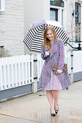 Ashley Hutchinson - Striped Bubble Umbrella, Houndstooth Coat, H&M Spotted Dress, Dune London Leopard Pumps, Clare V Leopard Clutch - Monochrome Rain