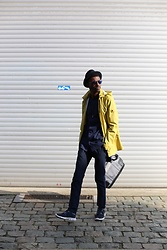 Jon The Gold - Strellson Yellow Raincoat, Weekday No Collar Blue Shirt, Zara Blue Trousers, River Island Blue Runners - Strellson Coat