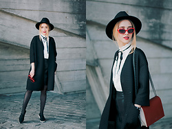 Anna Pogribnyak - Chic Wish Blouse, Chic Wish Skirt, Nklook Coat, Romwe Hat - Red accents