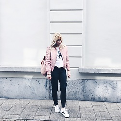 Elza B - Stradivarius Pink Bomber Jacket, Calvin Klein T Shirt, Zara Pink Backpack, Adidas Superstar Trainers - Blush