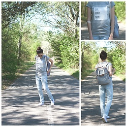 Marijana M - Yoins Oui Mais Non T Shirt, Takko Striped Bag, H&M Boyfriend Denim, New Yorker Lace Sneakers, Sheinside Round Sunglasses - Discovery of Kiko department