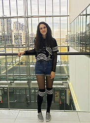 Asya Evloeva - Boohoo Catherine Stripe Top Knee High Socks, Boohoo Masie Mesh Long Sleeve Crop Top, Vans Checkerboard Slip On - April