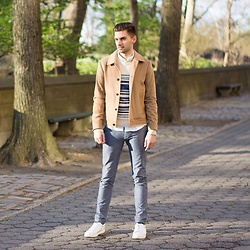 Aaron Wester - Club Monaco Jacket, J. Crew Striped Sweater, J. Crew Chinos, Zespa Trainers - Spring Stripes