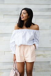 Konstantina Antoniadou - Asos Off Shoulder, Missguided Leather Shorts - The Stripped Element