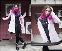 Maria Nikeshina - Zara Black Leather Dress, Love Republic Pink Coat - Pink spring