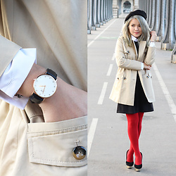 Sarah Mai - Zara Trench Coat, Peterpan Collar Dress, Fos Red Legging, Charlotte Olympia Dolly Pumps, Daniel Wellington Classy Sheffield Watch - Classic French Girl