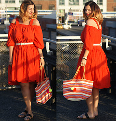 Jaclynn Brennan - H&M Off The Shoulders Dress, H&M Nude Belt, Mari A Double Band Slides, Old Navy Straw Tote - REAL LIFE RED DRESS EMOJI