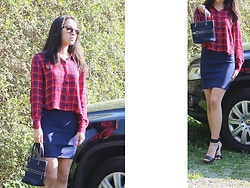 Tram Anh - Ray Ban Andy, Zara Tartan Crop Blouse, American Apparel Skirt, Vintage Bag, H&M Strappy Heels - 馬車通転教本