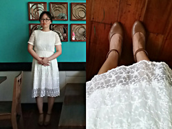 Teapot Potato - Le Donne Wedge With Ankle Straps, Preloved Lace Dress - My Preloved Lace Dress