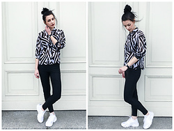 Klaudia - Kappahl Geometric Shirt, New Look High Waisted Pants, Nike Huarache, Swatch Watch -  o n l y ... b l a c k ... o n l y ... w h i t e