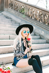 Rachel Lynch - Lack Of Color Black Hat, Nasty Gal Outlaw Embroidered Coat, Nasty Gal Ring Me Up Bodysuit, Nasty Gal Little Denim Hot Shorts, Zero Uv Blue Sunnies - Houses of the holy