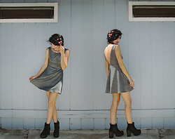Melina DeSantiago - Diy Floral Headpiece, Thrifted Grey V Cut Skater Dress, Chunky Platform High Heel Ankle Boots - Simple in Grey
