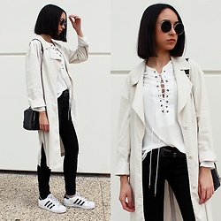 Esther L. - H&M Trench, Sheinside Lace Up Blouse, H&M Round Sunnies, Primark Belt, H&M Pants, Adidas Adias Superstar - LACE UP BLOUSE