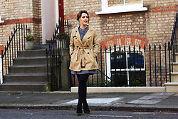 Daisy A - H&M Beige Trench Coat, Marks & Spencer Polka Dot Dress By Alexa Chung For And, Urban Outfitters Black Suede Wedge Desert Boots - The Elsie Dress