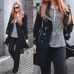 Tia T. - Bebe Coat, Zara Stripes Top, H&M Flare Jeans - Flare Jeans and Striped Top