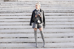Krist Elle - Zaful Turtleneck Sleeveless Knitted Gray Playsuit, Fiorellashop.Com Biker Jacket Trend 2016, Zerouv Mirrored Lens Sunglasses, Stuart Weitzman Gray Suede Boots - Knitted gray playsuit