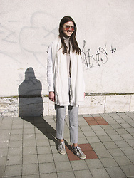 Diana - Mango Cotton Scarf, Tally Weijl Clear Sunglasses - NATURAL