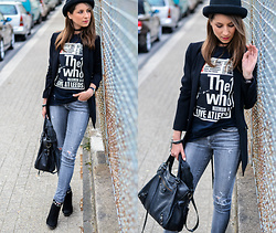 Stephanie Van Klev - Otto Hat, Zara Blazer, Asos Choker, Vintage The Who Tee, Citizens Of Humanity Skinny Jeans, Supertrash Ankle Boots, Balenciaga Bag - The Who