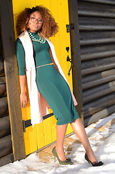 Louisa Moje - Boohoo Green Turtleneck Bodycon Midi Dress, Old   Similar Camel Sleeveless Lapel Vest, Amrita Singh Multilayer Reversible Bib Necklace, Old   Similar Olive Suede Bow Stiletto Pumps, Firmoo Clear Nerdy Glasses - Turtleneck Midi Bodycon Dress and Lightweight Label Coat