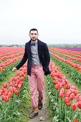 Hector Diaz - Topman Peacoat (Similar), Topman Floral Shirt (Similar), J. Crew Pink Chinos, Asos Polka Dot Bow Tie And Suspenders, Lacrosse Duck Boots - Tulip Fields