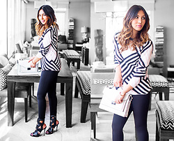 The Ambitionista - Le Tote Geometric Stripe Sweater, Le Tote Fitted Pants - Totes Le Tote
