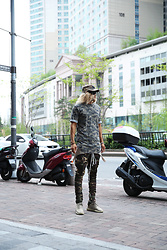 INWON LEE - Byther Military Camo Cap, Byther Military Camo Long Fit Shirts, Byther Dark Military Camo Pleated Pants - Military Camouflage Style