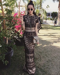 Claudia Salinas - Korovilas Embroidered Dress, Steve Madden Sandals, Gucci Dyonisus Bag, Ray Ban Sunnies - Coachella Day 2