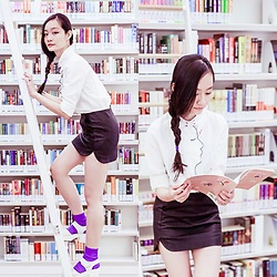 Ren Rong - Romwe Embroidered Blouse, Topshop Miniskirt, We Love Colors Lavender Socks - Biblioteca: library@orchard