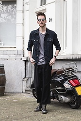 Martin Bonke - Asos Skinny Denim Jacket, Cos Pinstripe Tee, Uniqlo Wide Trousers, Sacha Shoes Black Boots - Wide Trousers. OOTD - FCKHIM.com