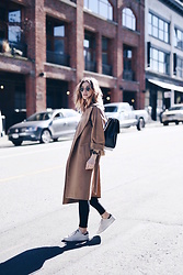 Jillian Lansky - Maxmara Camel Coat, Cluse Watch, Aritzia Black Leather Backpack, Adidas White Sneakers - Simplicity with cluse