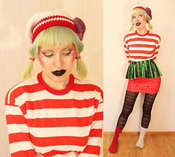 Lindwormmm - Tiny Moon Sailor Mars Beanie, Thrifted Red White Striped Shirt, Black Milk Clothing Melon Peplum Mini Skirt, Sheer Black Tights - Cheeky strawberry