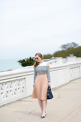 Ashley Hutchinson - Whistles Breton Stripe Cold Shoulder Sweater, Zara Pink Pleated Skirt, Ann Taylor Navy Gingham Pumps, Zara Navy City Bag, Ray Ban Aviators - Stripes By The Sea