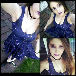 Lee Nicole - Black Milk Clothing Written In The Stars Reversible Skater Dress - The Stars (Are Out Tonight)
