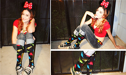 Rose Pendleton - Chrissy's Knee High Socks Dinosaur, Forever 21 Red Zipper Crop Top, Converse Converse/Chucks, Disney Minnie Mouse Headband, House Of Harlow 1960 Green Necklace, Claire's Red Bow Earrings - Minnie Raver
