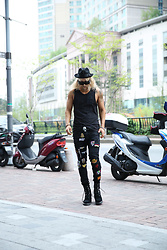 INWON LEE - Byther Black Mountain Felt Fedora Hat, Byther Special Force Patch Sleeveless Shirt, Byther Embroidered Patch Slim Jean Pants - Classic Sporty Vintage Street Style