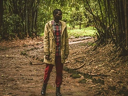 Fred Anyona - H&M Red Chinos, Jack And Jones Black Combat Boots, Asos Beige Parka, Asos Red And Green Checkered Shirt - When It Rained on Monday