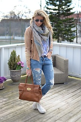 Christina Makholm - Zara Leather Jacket, Zadige & Voltaire Scarf, Mulberry Bag, Converse Sneakers, Zara Jeans, Ray Ban Sunnies, Michael Kors Watch, Moost Wanted Braclet, Rails Blouse, Tom Wood Ring - Blue like the sky..