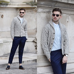 Aaron Wester - Banana Republic Cardigan, Club Monaco Shirt, Club Monaco Trousers, Gordon Rush Brogues - Parisian Holiday