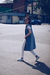 Andreea Birsan - Christian Dior So Real Sunglasses, Longline Grey Vest, American Eagle Outfitters Embroidered Shirt, Mango White Trousers, Mango White Sneakers - White outfit & grey vest