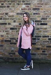 Daisy A - Bellfield Clothing Pink Anorak Raincoat, Asos Blue Denim High Waisted Jeans, Vans Sk8 Hi Shoes Black Low Top, Longchamp Navy Back Pack - The pink anorak